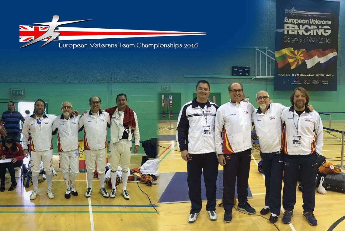 Mosconi con el equipo español de Veteranos de Esgrima